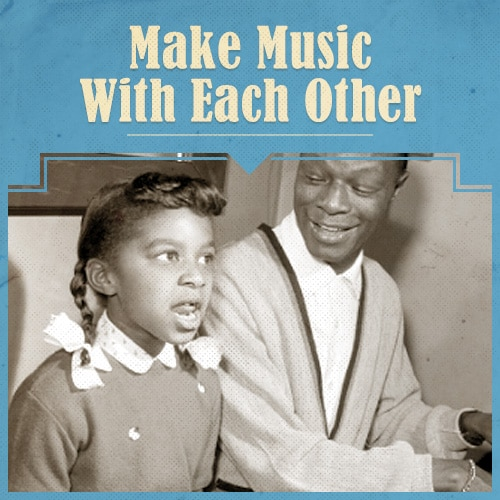 Vintage Father and Child Making Music.