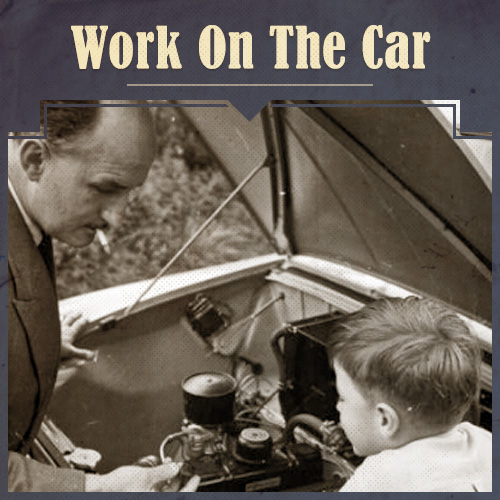 Vintage Father and Child Working on Car.