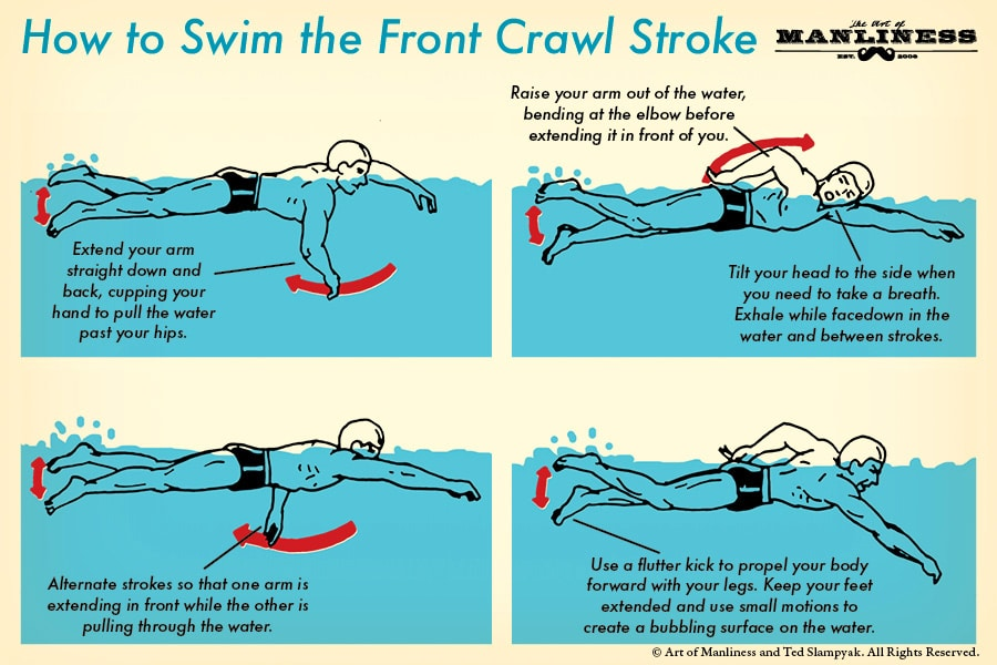 how to swim the front crawl stroke illustration