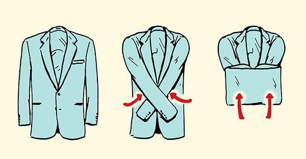 how to fold a blazer sports coat suit jacket for suitcase