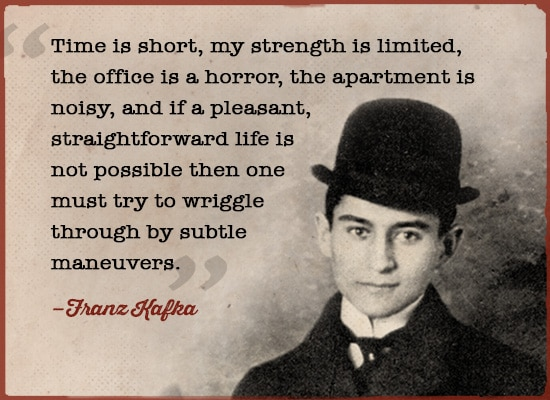 Franz Kafka quote time is short strength is limited.