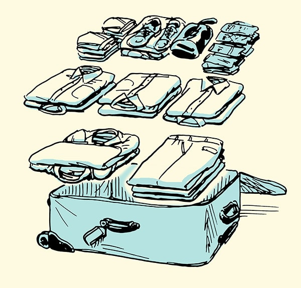 how to pack a suitcase for a business trip illustration