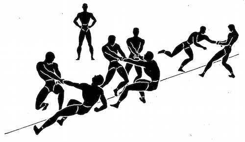 wwii strength and conditioning exercises tug of war illustration
