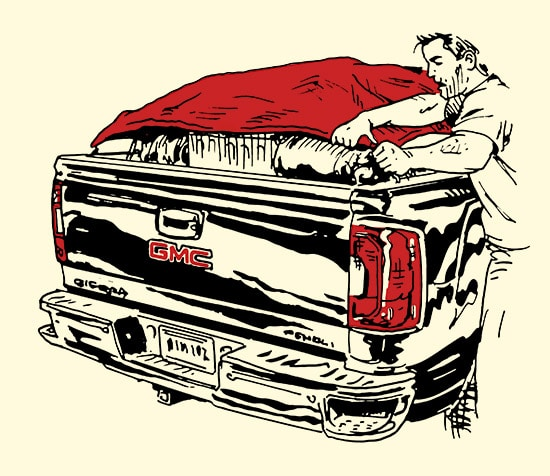 man putting tarp over back of truck illustration