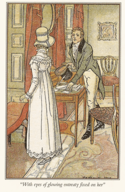 "jane austen victorian illustration ""with eyes of glowing entreaty fixed on her"""