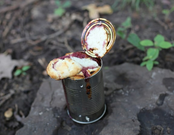 cobbler in a can campfire dessert