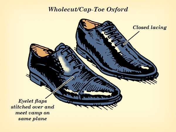 wholecut cap-toe oxford dress shoe illustration
