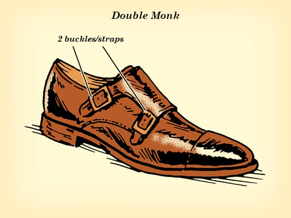 double monk strap dress shoe illustration