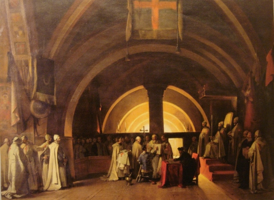 old painting of large church with priests gathering