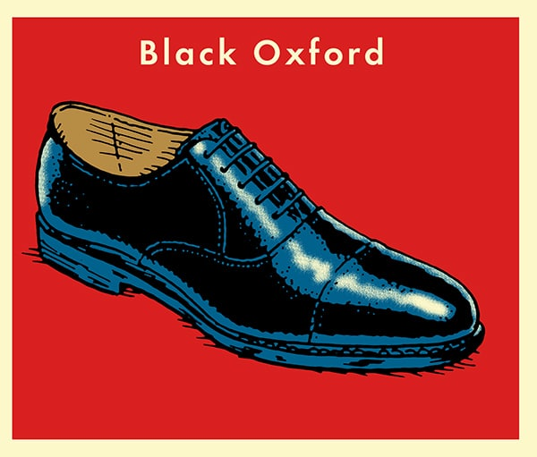 Black Leather Dress Shoes illustration.