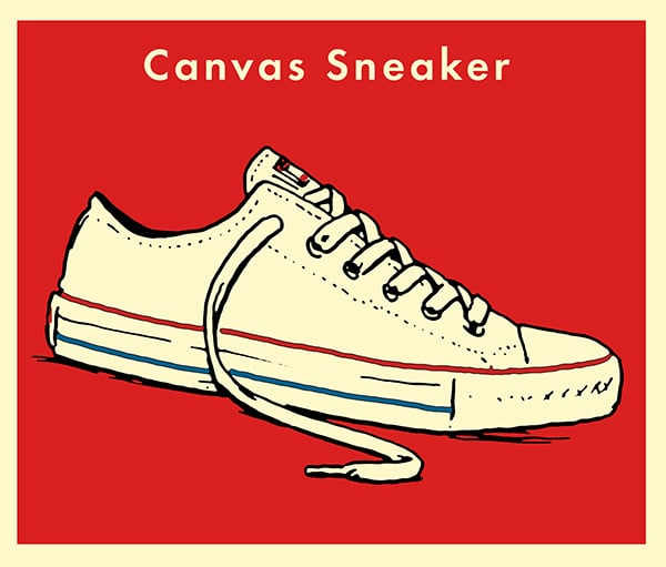 Canvas sneaker illustration.