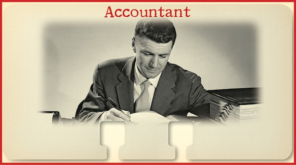 Vintage Accountant Working In Office.