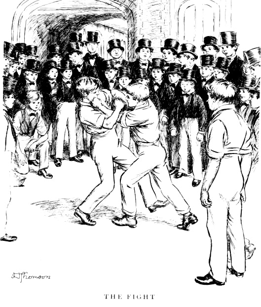 Two Man Fighting in crowded place illustration.