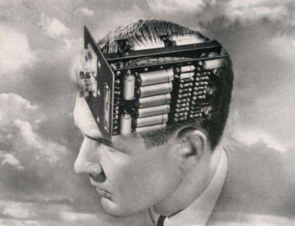 vintage illustration man with batteries in brain