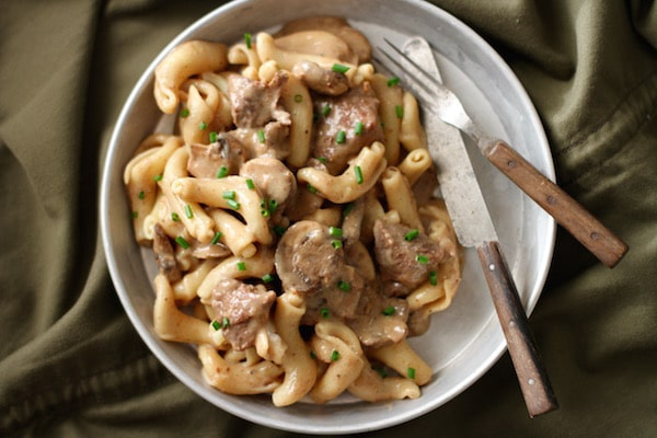 homemade beef stroganoff with mushrooms cavatappi noodles