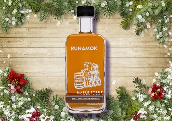 Runamok maple dyrup with decorated background.