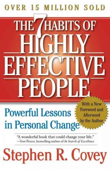 The 7 Habits of Highly Effective People by Stephen Covey, book cover.