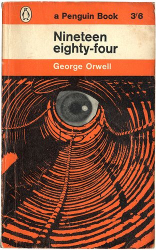 Nineteen eighty-four by George Orwell, book cover.