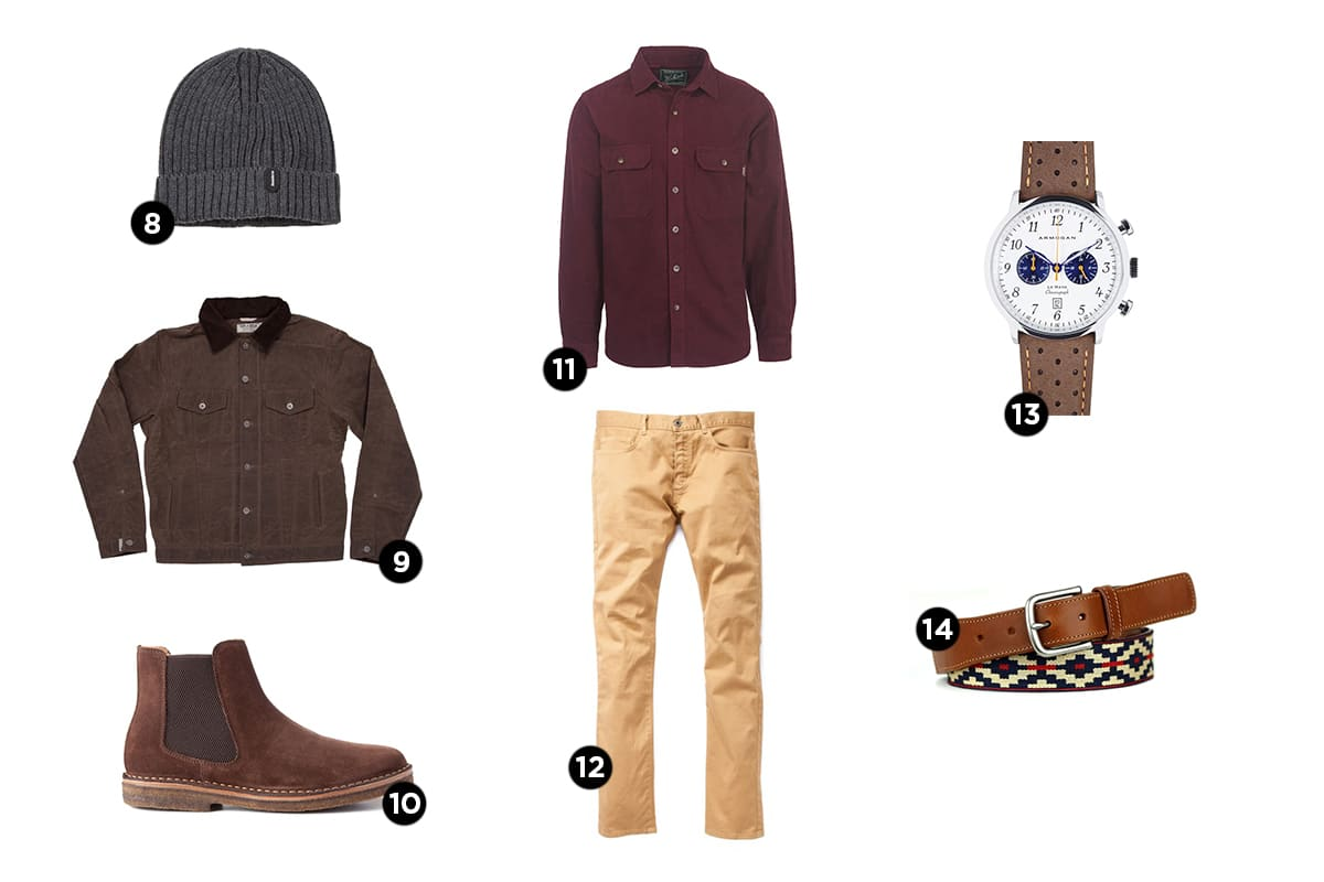 Different collection of men products for casual holiday party.