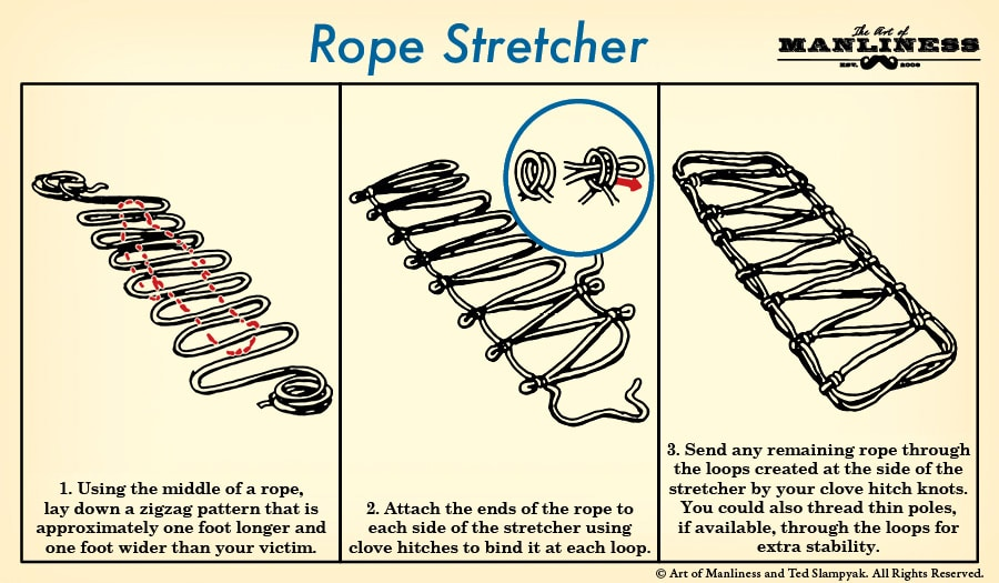 how to make an improvised rope stretcher illustration
