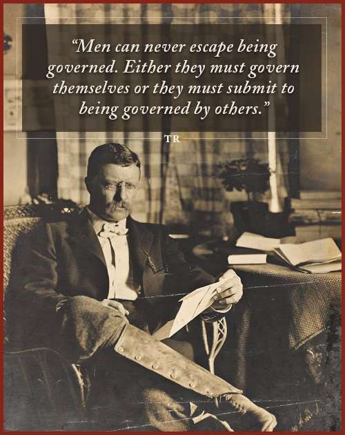 Quote by Theodore Roosevelt sitting one the chair and holding a paper in left hand.