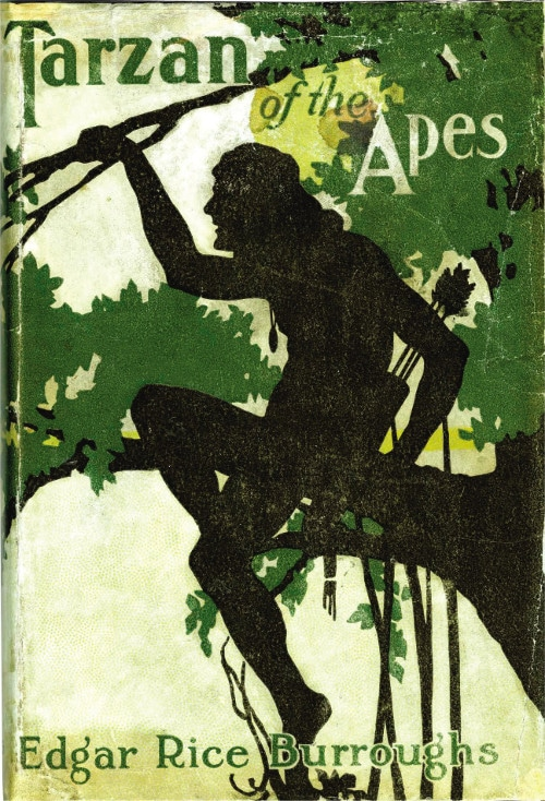The book cover of Tarzan of the Apes by Edgar Rice Burroughs.