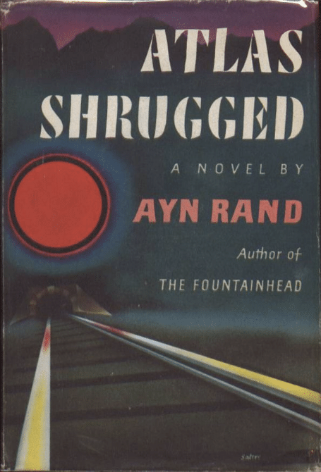 Atlas Shrugged by Ayn Rand, book cover.