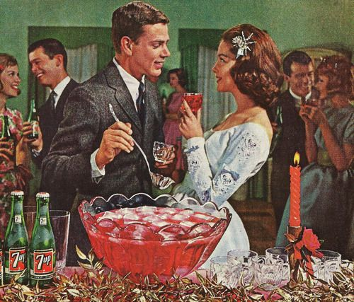 vintage couple talking at punch bowl at party illustration