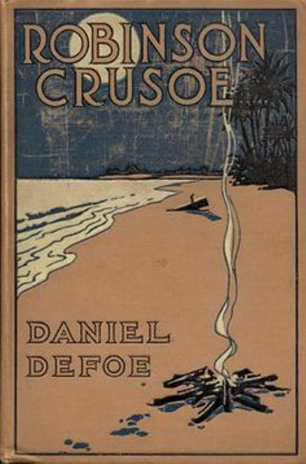 Robinson Crusoe by Daniel Defoe, book cover.