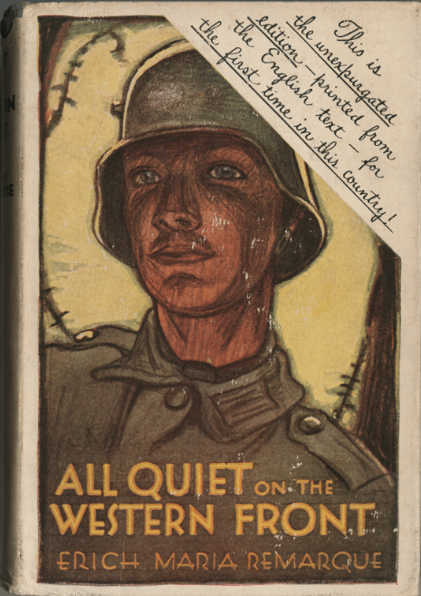 All Quiet on the Western Front by Erich Maria Remarque, book cover.