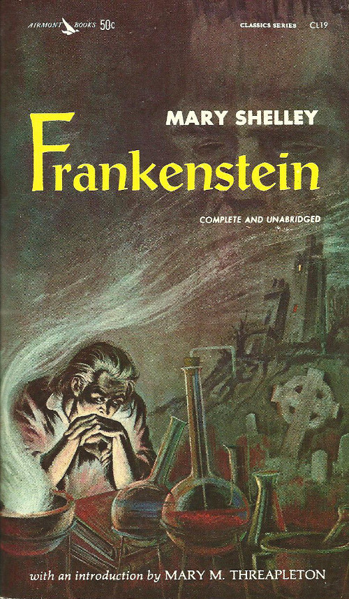 Frankenstein by Mary Shelley, book cover.