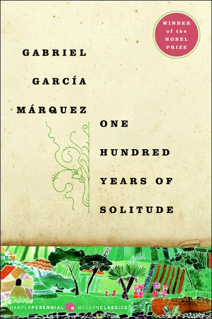 One Hundred Years of Solitude by Gabriel Garcia Marquez, book cover.