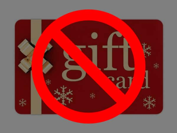 "gift card with big red ""no"" symbol"