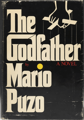 The Godfather by Mario Puzo, is a book cover.