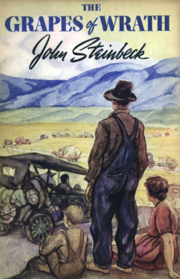 The Grapes of Wrath by John Steinbeck, book cover.