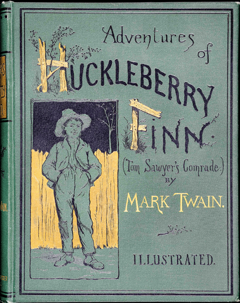 The Adventures of Huckleberry Finn by Mark Twain, book cover.