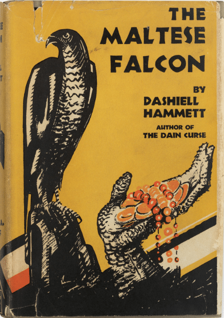 The Maltese Falcon by Dashiell Hammett, book cover.