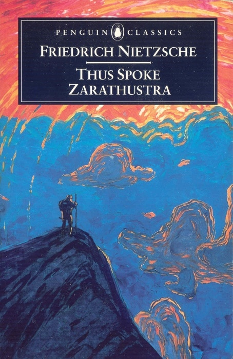 The book cover of Thus Spoke Zarathustra by Friedrich Nietzsche.