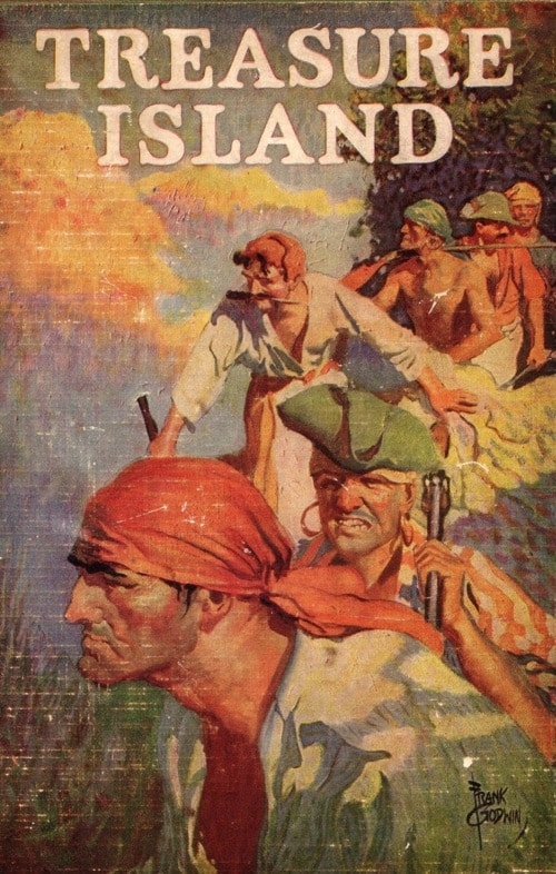 Treasure Island by Robert Louis Stevenson, book cover.