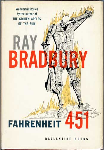 Fahrenheit 451 by Ray Bradbury, book cover.