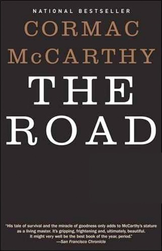 The Road by Cormac McCarthy, book cover.