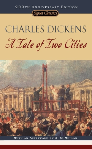 The book cover of A Tale of Two Cities by Charles Dickens.