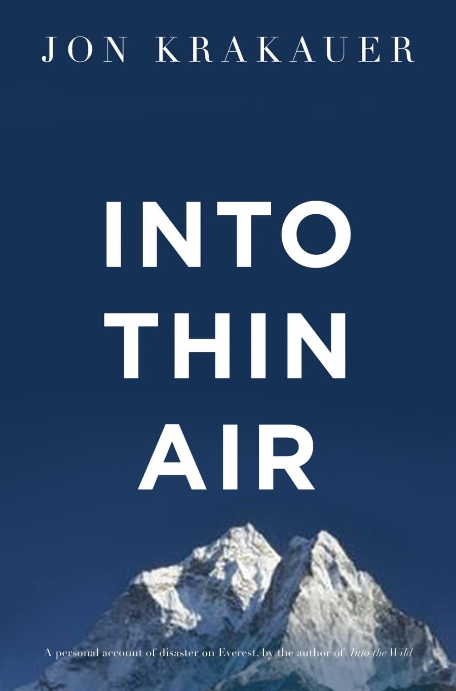 Into Thin Air by Jon Krakauer, book cover.
