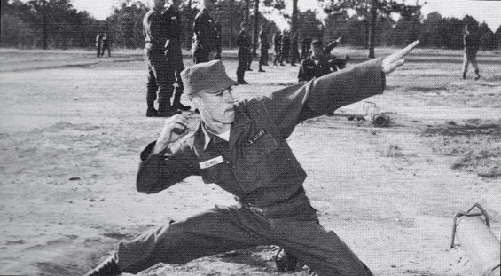 vintage military boot camp pt training grenade throw