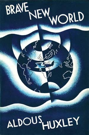 Brave New World by Aldous Huxley, book cover.