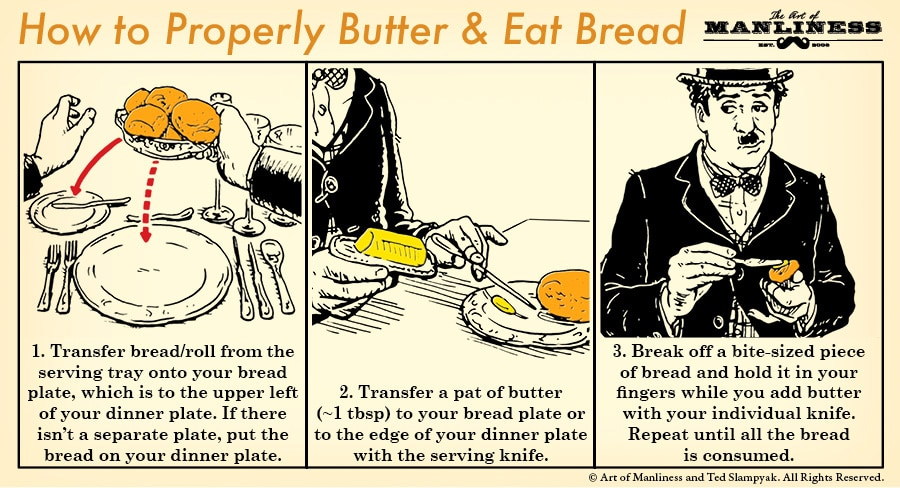How to properly butter and eat bread dinner rolls.