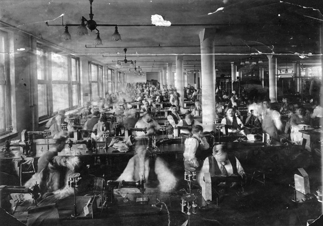 vintage sewing factory men working at sewing machines