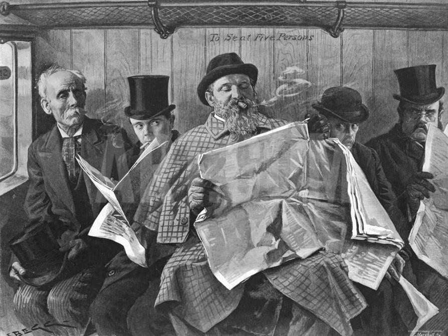 Vintage people reading newspapers in train.