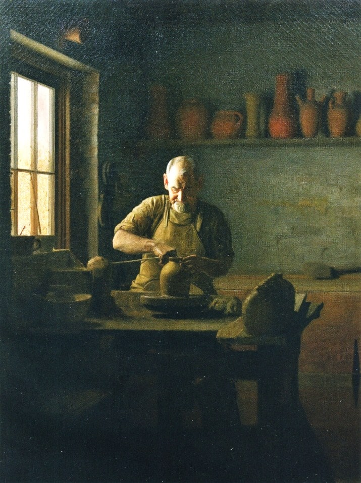 painting of craftsman working on pottery wheel making a vase