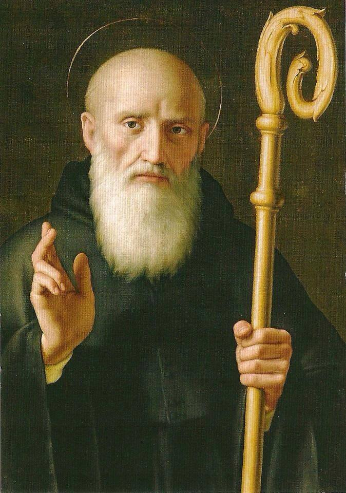 A painting of bald saint holding a staff.